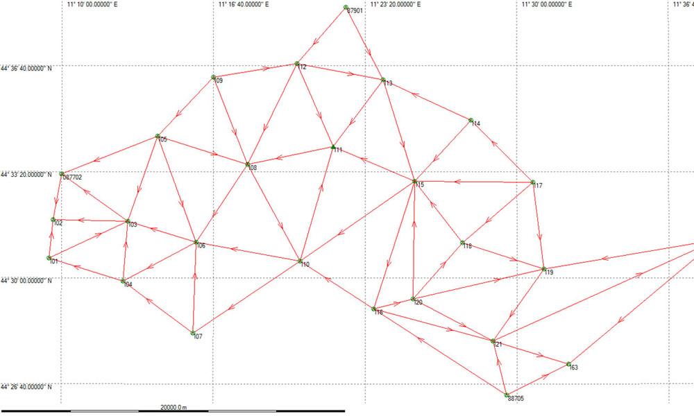 Progettazione e misurazione di reti geodetiche per cartografia