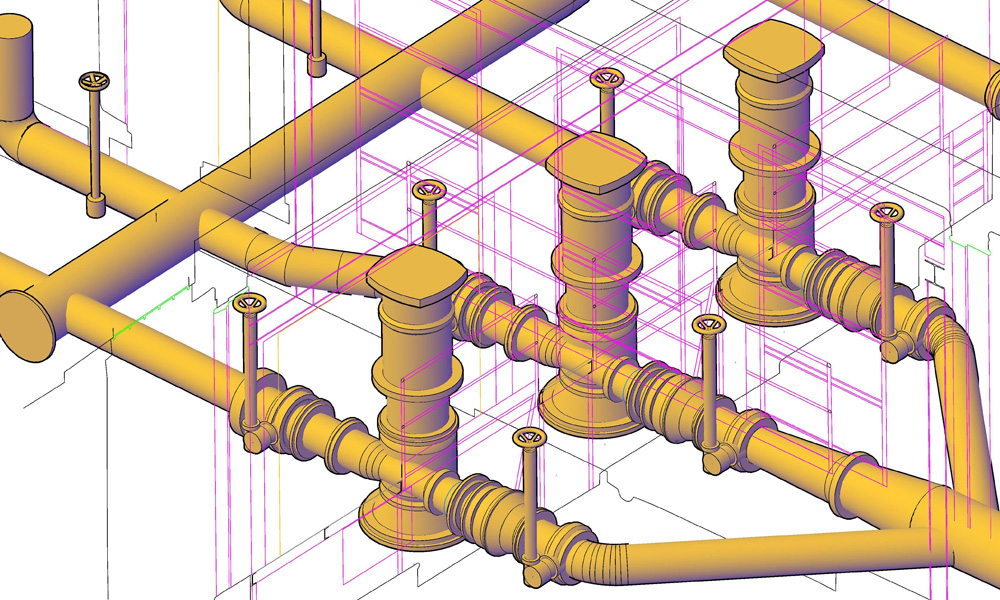 3D modeling of plant networks with creating BIM